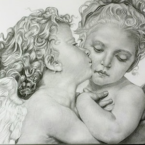 (CreativeWork) Baby Angels by Ahmed Al-zoubeidi. drawing. Shop online at Bluethumb.