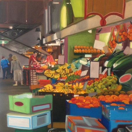 (CreativeWork) Central Market by Christopher Steele. Oil Paint. Shop online at Bluethumb.