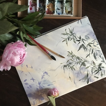 (CreativeWork) Leaves and shadow by Dayang Zhang. Watercolour. Shop online at Bluethumb.