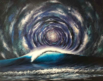 (CreativeWork) Cosmos and Wave by Wayne French. oil-painting. Shop online at Bluethumb.