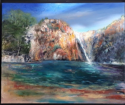 (CreativeWork) Black Rock Falls by Roger Reading. oil-painting. Shop online at Bluethumb.
