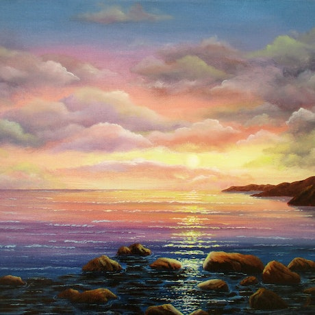 (CreativeWork) SEASCAPE, LAST LIGHT 2 by Debra Dickson. Acrylic Paint. Shop online at Bluethumb.