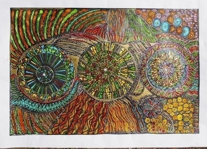 (CreativeWork) There are many spokes on the wheel - Copy by Merle Wiitpom. mixed-media. Shop online at Bluethumb.