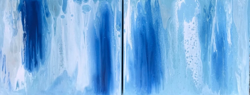 ORIGINAL ABSTRACT ART PAINTINGS X 2 ON STRETCHED CANVAS DOUBLE BLUES