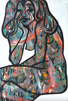 (CreativeWork) Pensive by Jessica Gordon. Acrylic Paint. Shop online at Bluethumb.