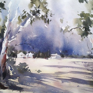 (CreativeWork) STORM OVER KILMORE - UNFRAMED by Maureen Runge. watercolour. Shop online at Bluethumb.