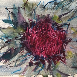 (CreativeWork) Pretty Flower by Sarah Poyser. watercolour. Shop online at Bluethumb.