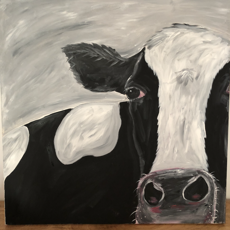 (CreativeWork) Holly the Hussy  Holstein cow !  by Miss Rose. arcylic-painting. Shop online at Bluethumb.