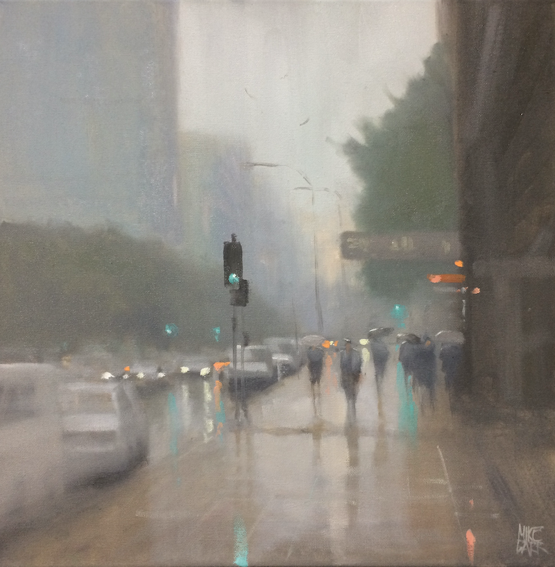 (CreativeWork) Flinders Street Showers by Mike Barr. Oil Paint. Shop online at Bluethumb.