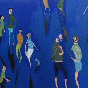 (CreativeWork) It's all in the body language by Sharon Monagle. arcylic-painting. Shop online at Bluethumb.