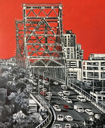 (CreativeWork) Red Story by Kylie Farrelly. Acrylic Paint. Shop online at Bluethumb.