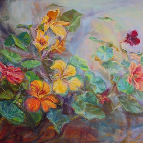 (CreativeWork) Nasturtium Breeze by In Sun Park. Oil Paint. Shop online at Bluethumb.