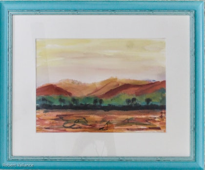 (CreativeWork) Rolling Hills by Robert Vallance. watercolour. Shop online at Bluethumb.
