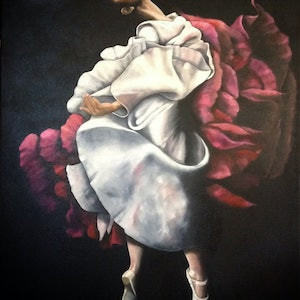 (CreativeWork) Ballerina by Roxanne Raschella. oil-painting. Shop online at Bluethumb.