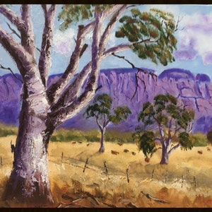 (CreativeWork) Flinders Ranges by Margie Langtip. oil-painting. Shop online at Bluethumb.