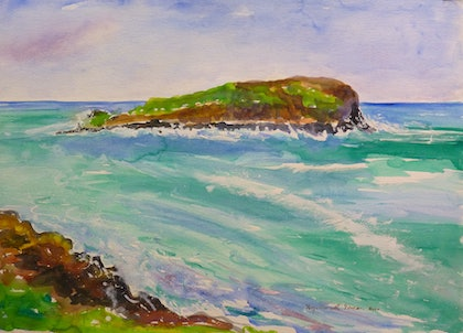 (CreativeWork) Cook Island Fingal Heads NSW #3 by Virginia McGowan. watercolour. Shop online at Bluethumb.