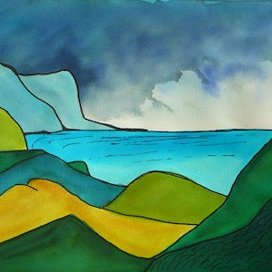 (CreativeWork) Around the Bays Akaroa NZ by valarie ross. watercolour. Shop online at Bluethumb.