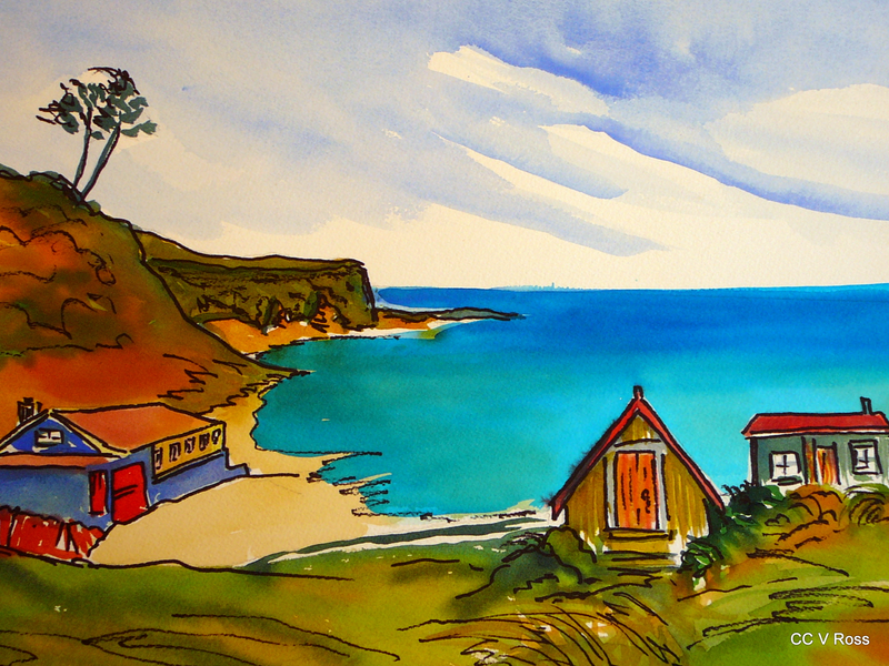 (CreativeWork) Wild Coast Baches NZ by valarie ross. watercolour. Shop online at Bluethumb.