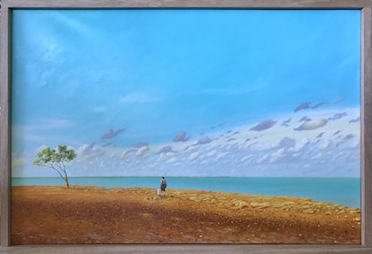 (CreativeWork) Bynoe Fisherman by Mike Rule. oil-painting. Shop online at Bluethumb.