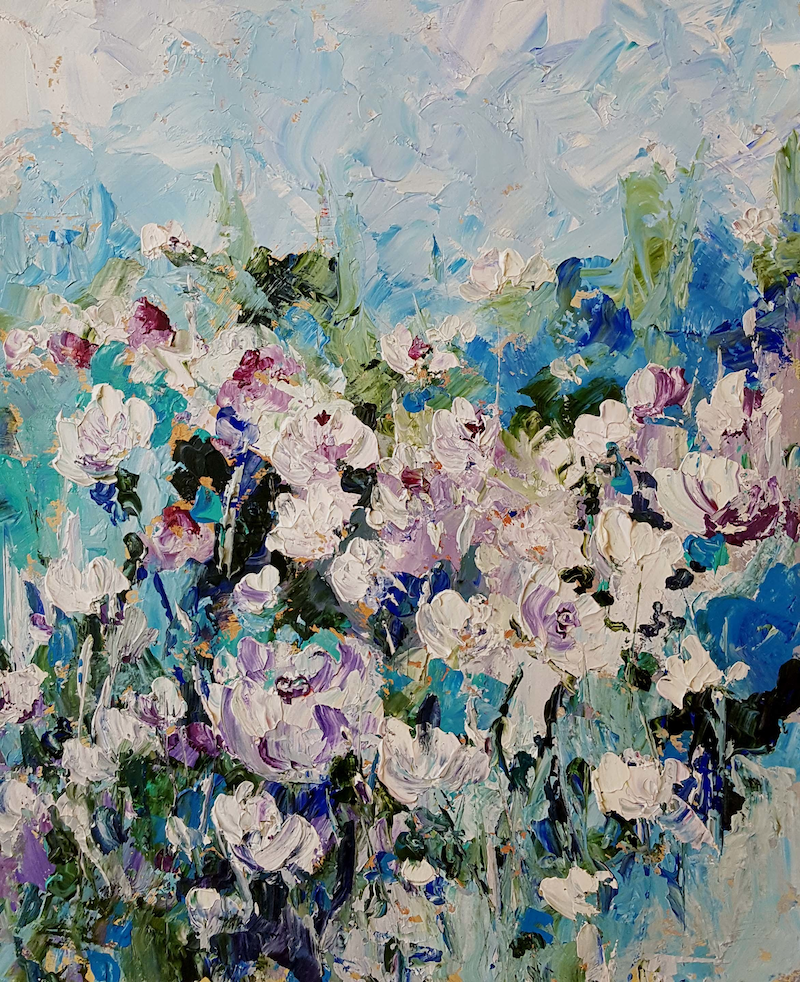 (CreativeWork) Summer White by Helen Miles. arcylic-painting. Shop online at Bluethumb.