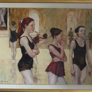 (CreativeWork) Ballet School by Lorraine Lewitzka. oil-painting. Shop online at Bluethumb.