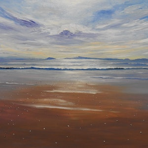 (CreativeWork) Morning Light- Mayfield Beach Seascape, Tasmania by Lindy Whitton. acrylic-painting. Shop online at Bluethumb.