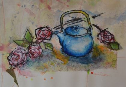 (CreativeWork) TIME FOR TEA by GILLIAN ROULSTON. mixed-media. Shop online at Bluethumb.
