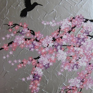 (CreativeWork) Hummingbird with Sakura by Cathy Jacobs. acrylic-painting. Shop online at Bluethumb.