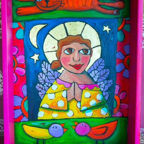 (CreativeWork) Pocket Shrine - Love is a kitty word by Sara Catena. Acrylic Paint. Shop online at Bluethumb.