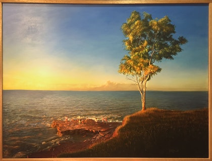 (CreativeWork) Nightcliff Sunset by Mike Rule. oil-painting. Shop online at Bluethumb.