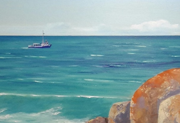 (CreativeWork) A Good Day for Fishing- Bay of Fires Seascape by Lindy Whitton. Acrylic Paint. Shop online at Bluethumb.