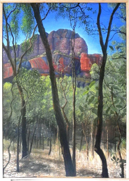 (CreativeWork) Nourlangie Rock by Mike Rule. oil-painting. Shop online at Bluethumb.