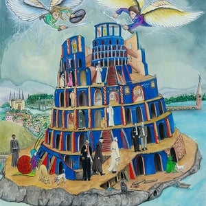 (CreativeWork) Walking the Tower of Babel  Ed. 5 of 30 by Chelle Destefano. print. Shop online at Bluethumb.