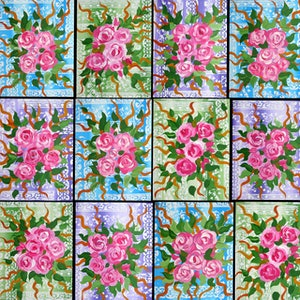 (CreativeWork) Roses on 12 canvases by Cathy Snow. arcylic-painting. Shop online at Bluethumb.