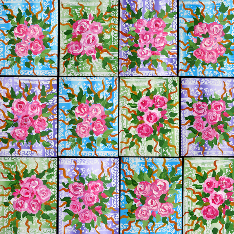 (CreativeWork) Roses on 12 canvases by Cathy Snow. Acrylic Paint. Shop online at Bluethumb.