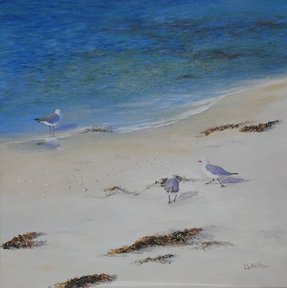 (CreativeWork) Water's Edge. Tasmania. Seascape by Lindy Whitton. Acrylic Paint. Shop online at Bluethumb.
