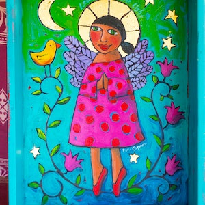 (CreativeWork) Pocket shrine - Lean into the light by Sara Catena. arcylic-painting. Shop online at Bluethumb.