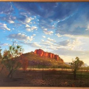 (CreativeWork) Victoria River Rocky Outcrop by Mike Rule. oil-painting. Shop online at Bluethumb.