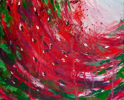 (CreativeWork) Watermelon mood by Natalie Maro. arcylic-painting. Shop online at Bluethumb.