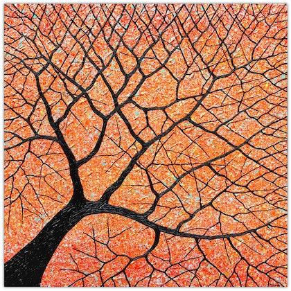 (CreativeWork) Tree - Fallen Sunset Tree by Miranda Lloyd. mixed-media. Shop online at Bluethumb.