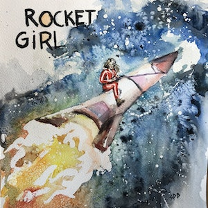 (CreativeWork) Rocket Girl  by Sarah Poyser. watercolour. Shop online at Bluethumb.
