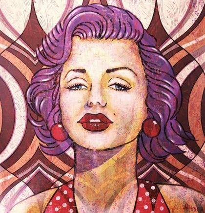 "(CreativeWork) ""Marilyn"" by Hilary Gaston. arcylic-painting. Shop online at Bluethumb."
