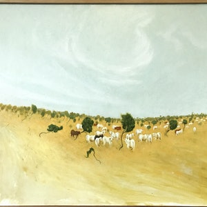 (CreativeWork) Cows on the Buntine Highway by Mike Rule. oil-painting. Shop online at Bluethumb.