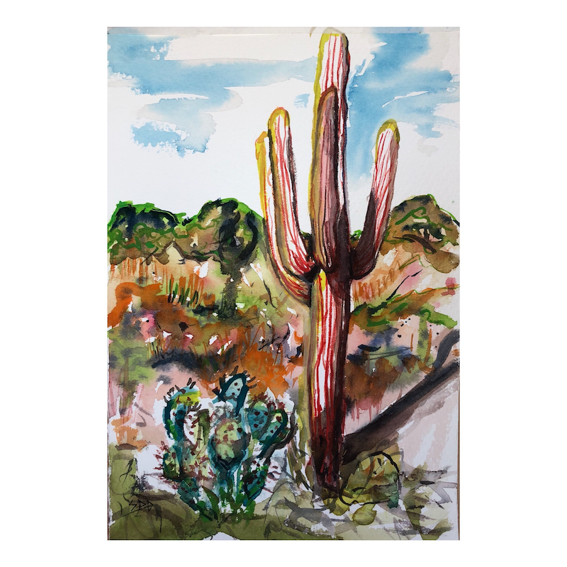 (CreativeWork) Cactus snap by Sarah Poyser. watercolour. Shop online at Bluethumb.