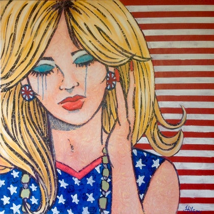 "(CreativeWork) "" Red white and blue boo hoo"" by Hilary Gaston. arcylic-painting. Shop online at Bluethumb."