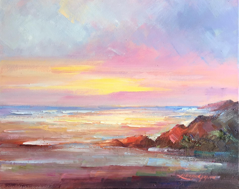 (CreativeWork) Sunrise at the beach #3 by Liliana Gigovic. oil-painting. Shop online at Bluethumb.