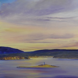 (CreativeWork) Evening Sky. Seascape. Tasmania by Lindy Whitton. acrylic-painting. Shop online at Bluethumb.