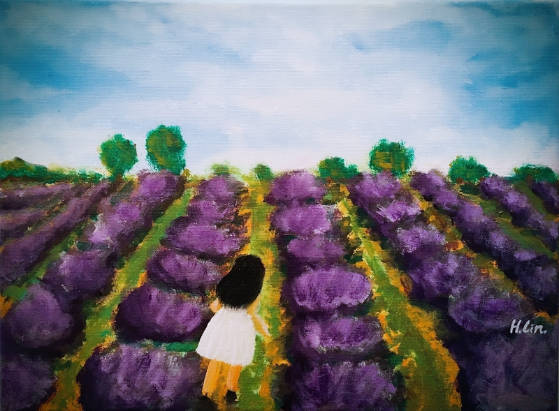 (CreativeWork) GIRL IN LAVENDER FARM by HSIN LIN. arcylic-painting. Shop online at Bluethumb.