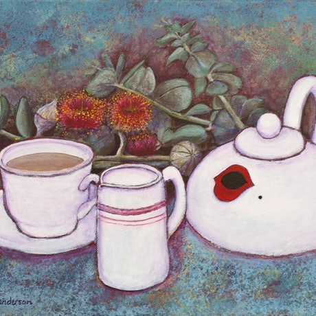 (CreativeWork) Tea with Marilyn 2 by Michelle Henderson. Acrylic Paint. Shop online at Bluethumb.