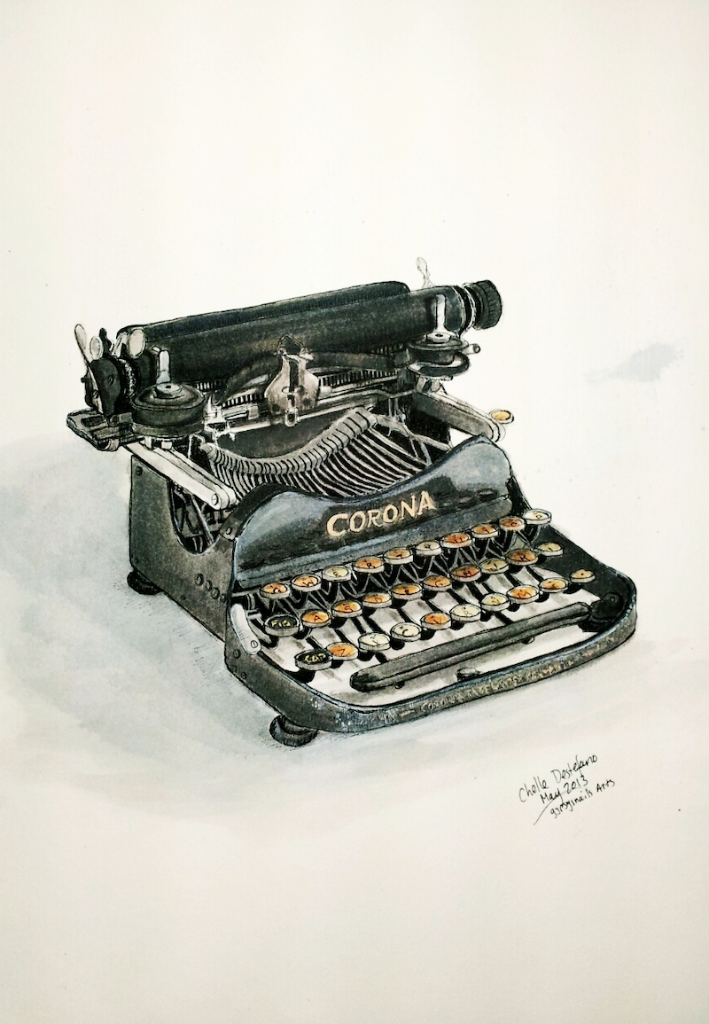 (CreativeWork) Typewriter I by Chelle Destefano. drawing. Shop online at Bluethumb.